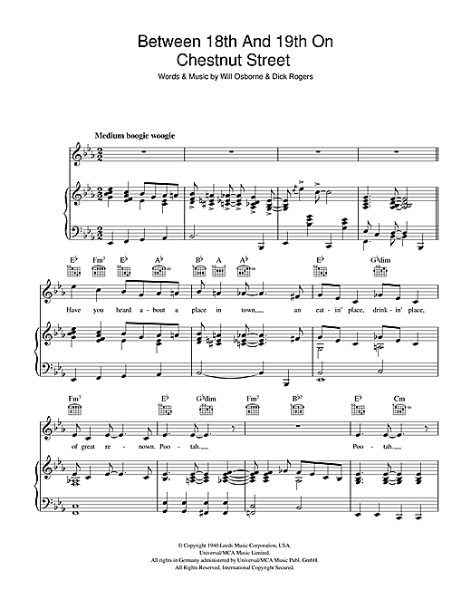 Between 18th And 19th On Chestnut Street Sheet Music