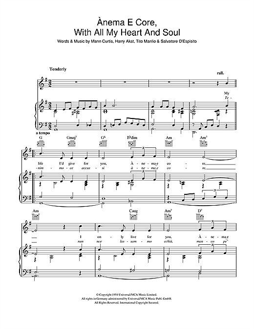 Anema E Core (With All My Heart And Soul) Sheet Music