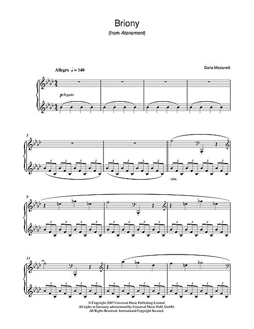 Partition piano Briony (from Atonement) de Dario Marianelli - Piano Solo