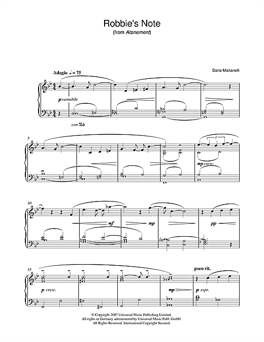 Partition piano Robbie's Note (from Atonement) de Dario Marianelli - Piano Solo