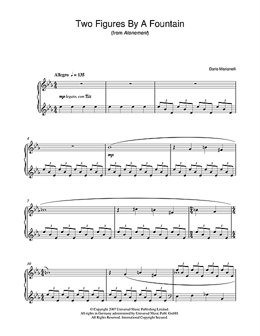 Two Figures By A Fountain (from Atonement) Sheet Music