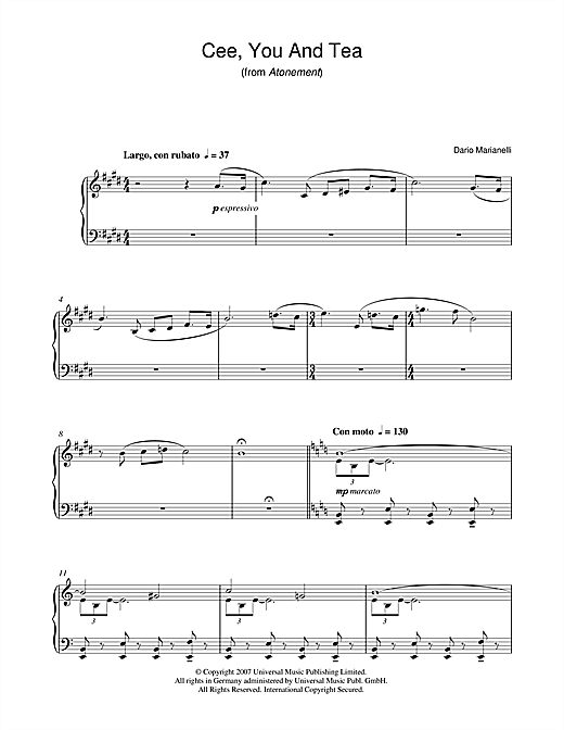 Cee, You And Tea (from Atonement) Sheet Music