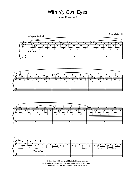 Partition piano With My Own Eyes (from Atonement) de Dario Marianelli - Piano Solo