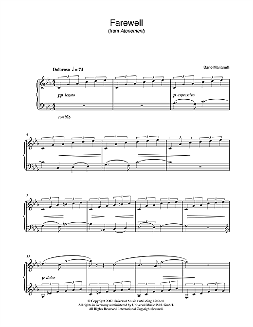 Farewell (from Atonement) Sheet Music