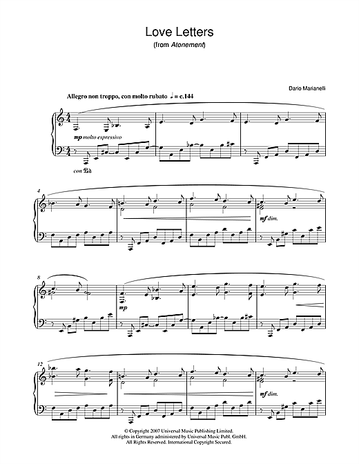 piano sheet with letters letters from atonement sheet by dario 376