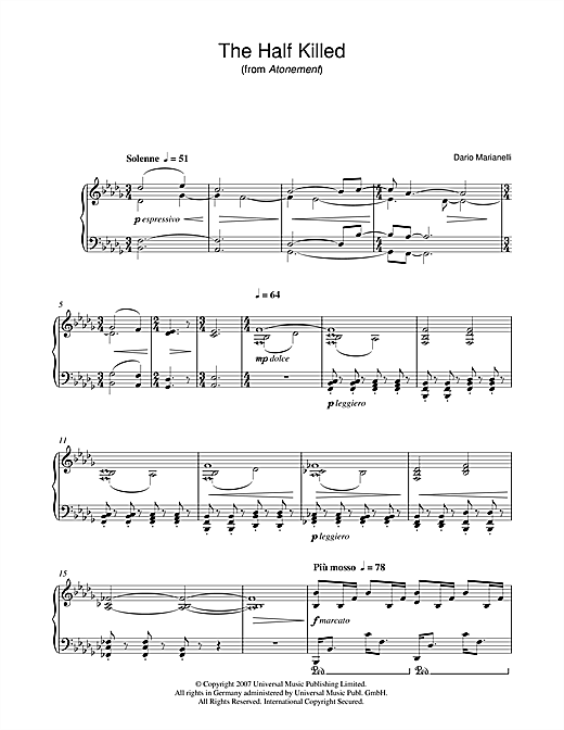 The Half Killed (from Atonement) Sheet Music