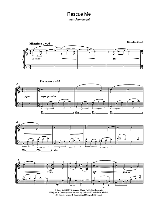 Rescue Me (from Atonement) Sheet Music