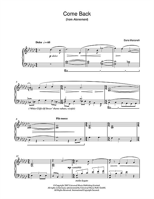 Partition piano Come Back (from Atonement) de Dario Marianelli - Piano Solo