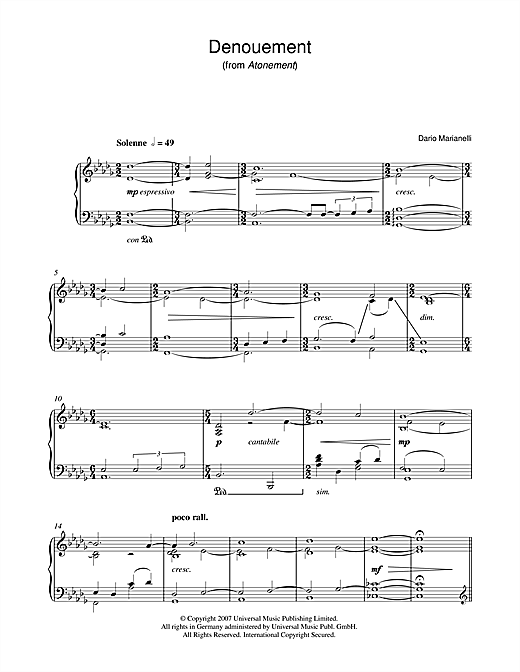 Denouement (from Atonement) Sheet Music