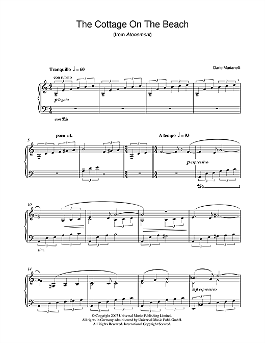 The Cottage On The Beach (from Atonement) Sheet Music