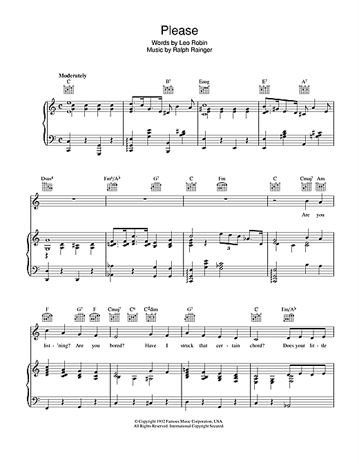 Please Sheet Music