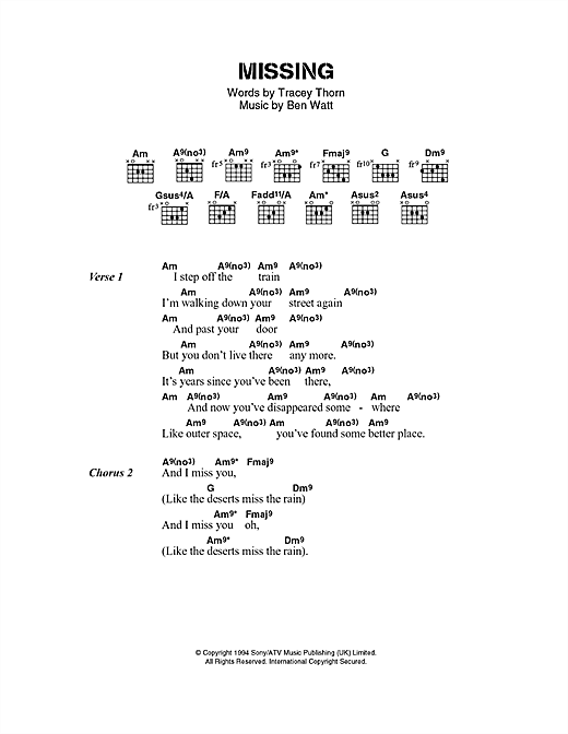 Missing sheet music by Everything But The Girl (Lyrics & Chords – 40502)