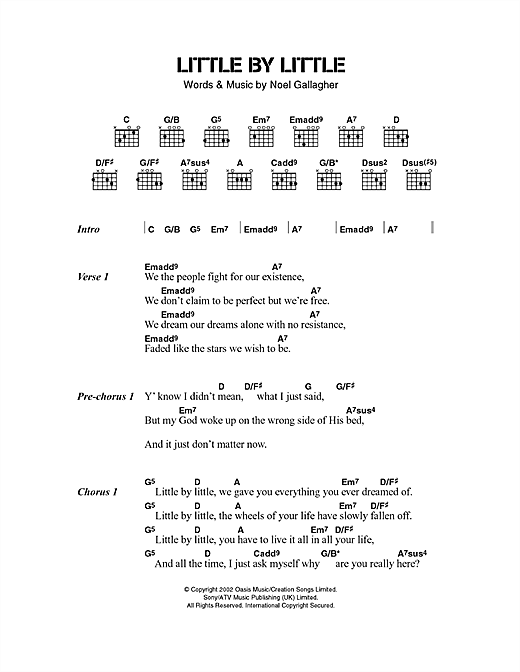 Little By Little (Guitar Chords/Lyrics)