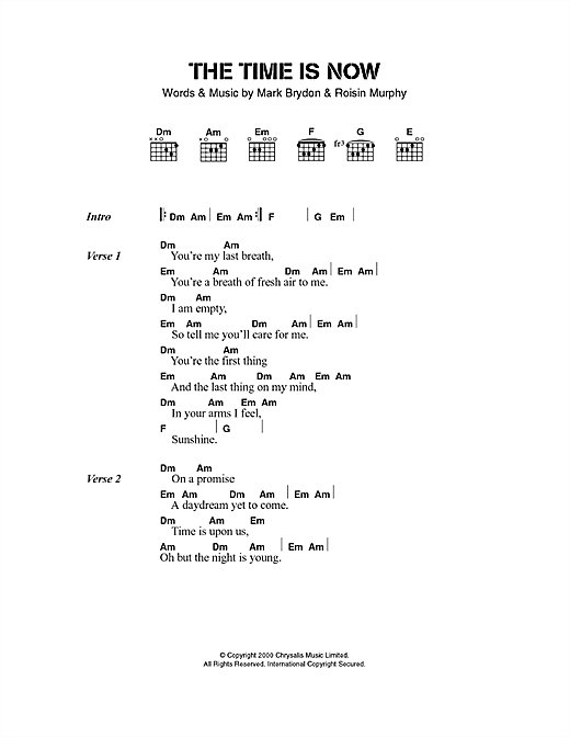 The Time Is Now sheet music by Moloko (Lyrics & Chords – 40498)