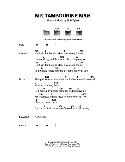 Mr. Tambourine Man sheet music by Bob Dylan (Lyrics & Chords – 40522)
