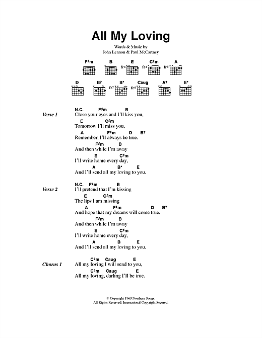 All My Loving Sheet Music By The Beatles Lyrics Chords 40514