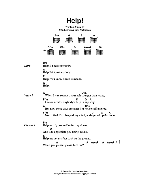 help sheet music by the beatles lyrics chords 40535. Black Bedroom Furniture Sets. Home Design Ideas