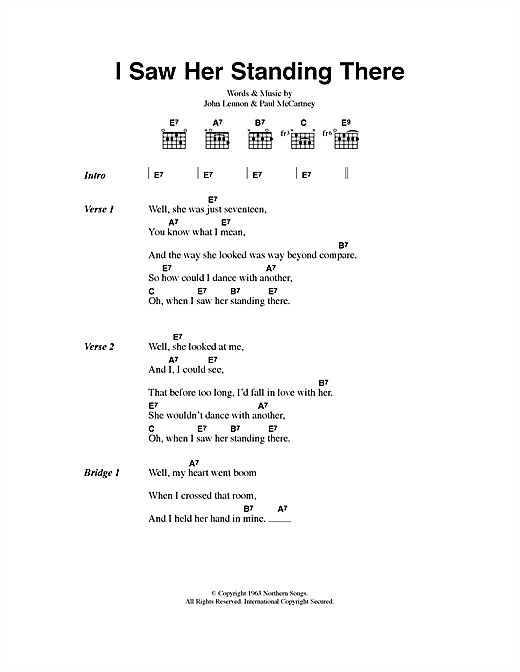 I Saw Her Standing There Sheet Music By The Beatles Lyrics Chords