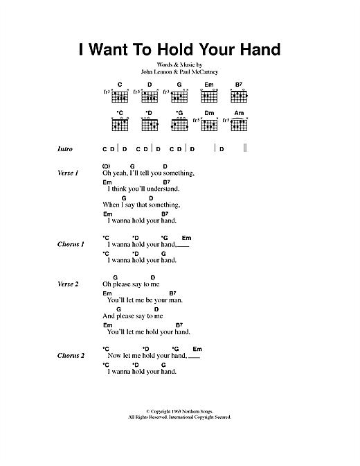 I Want To Hold Your Hand sheet music by The Beatles (Lyrics & Chords ...