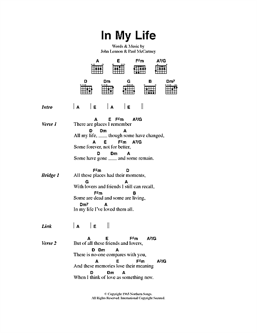 In My Life Sheet Music By The Beatles Lyrics Chords 40546