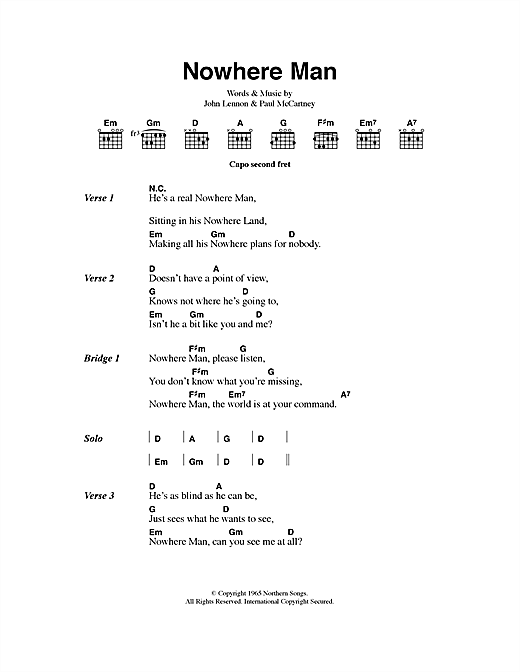 Nowhere Man (Guitar Chords/Lyrics)