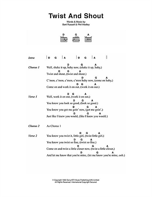 Twist And Shout (Guitar Chords/Lyrics)