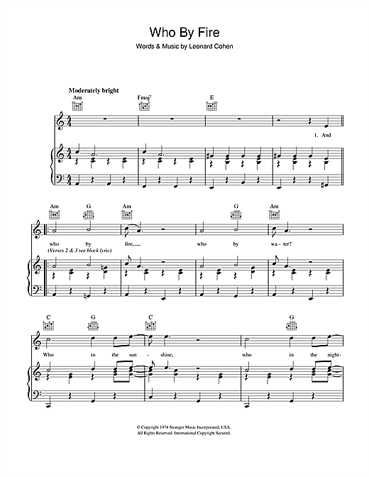 Who By Fire (Piano, Vocal & Guitar (Right-Hand Melody))