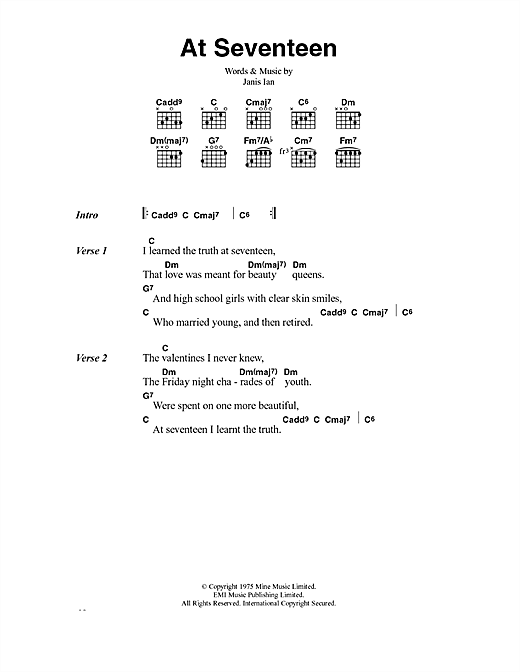 At Seventeen Chords by Janis Ian | Songsterr Tabs with Rhythm