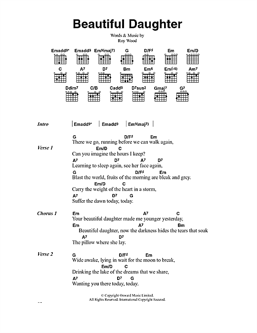 Beautiful Daughter (Guitar Chords/Lyrics)