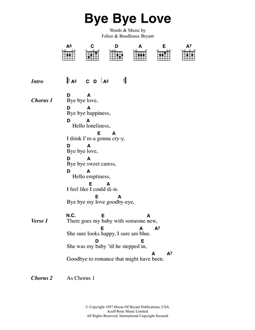 Bye Bye Love (Guitar Chords/Lyrics)