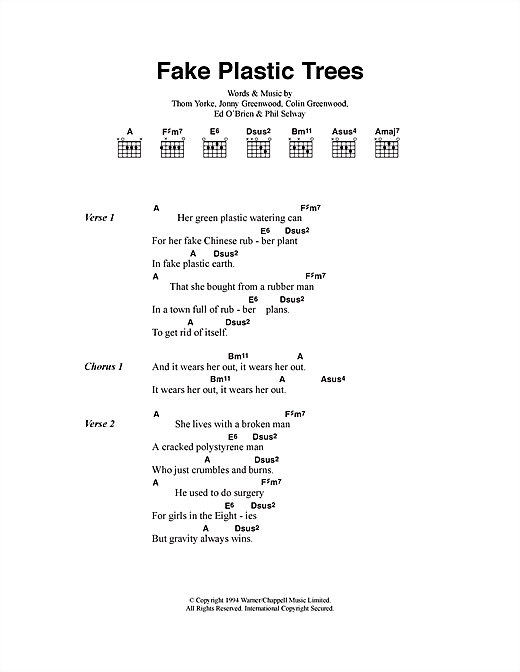 Fake Plastic Trees sheet music by Radiohead (Lyrics & Chords – 40592)