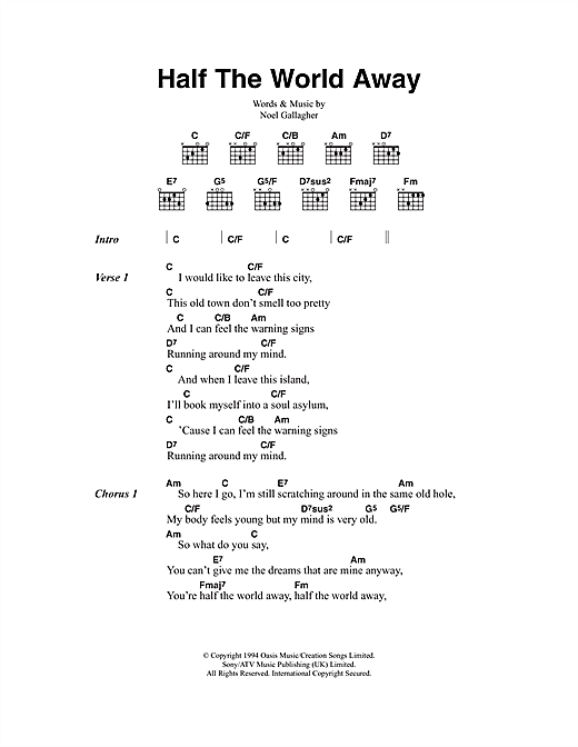 Half The World Away Sheet Music