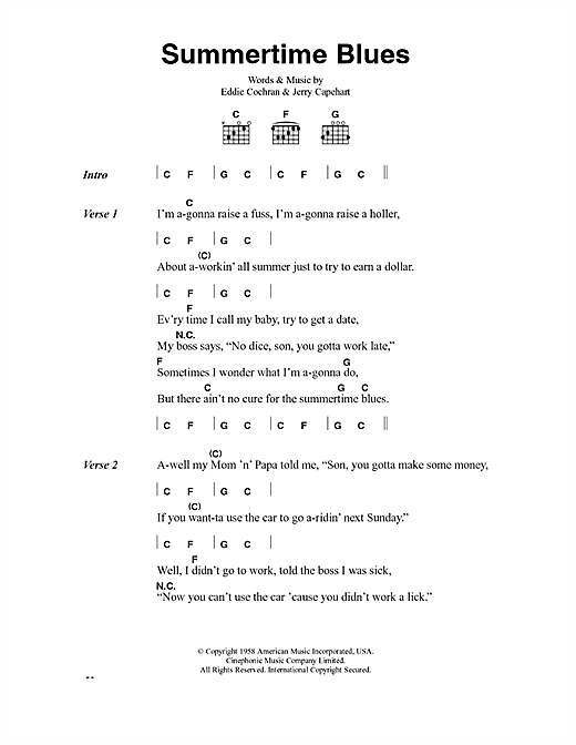 Summertime Blues Sheet Music