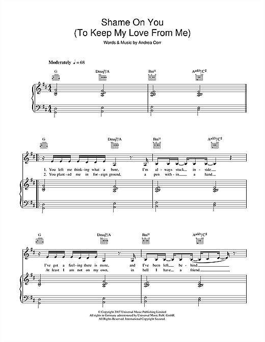 Shame On You (To Keep My Love From Me) Sheet Music