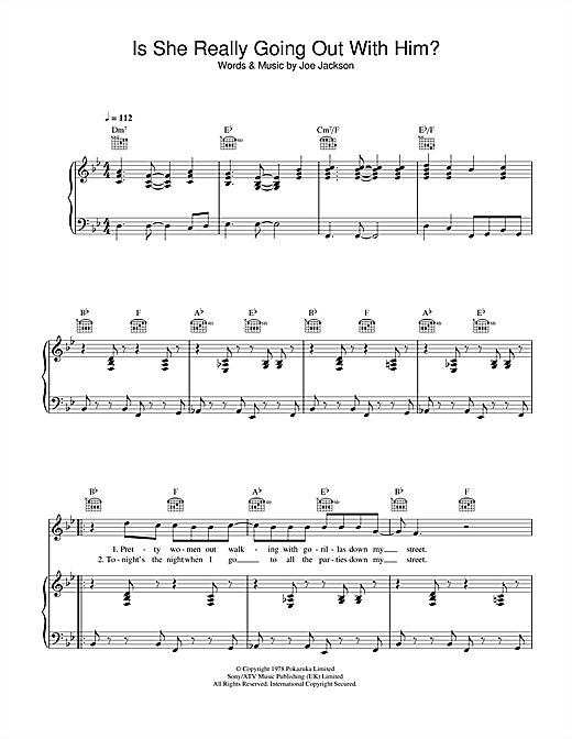 Partition piano Is She Really Going Out With Him? de Joe Jackson - Piano Voix Guitare