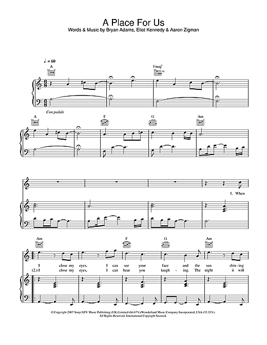 A Place For Us Sheet Music