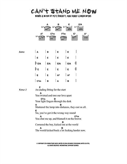 Cant Stand Me Now Sheet Music By The Libertines Lyrics Chords