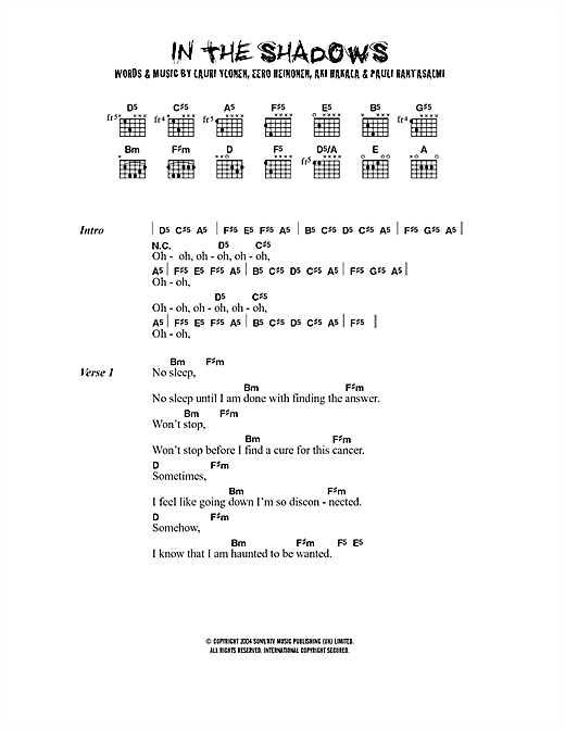 In The Shadows Sheet Music