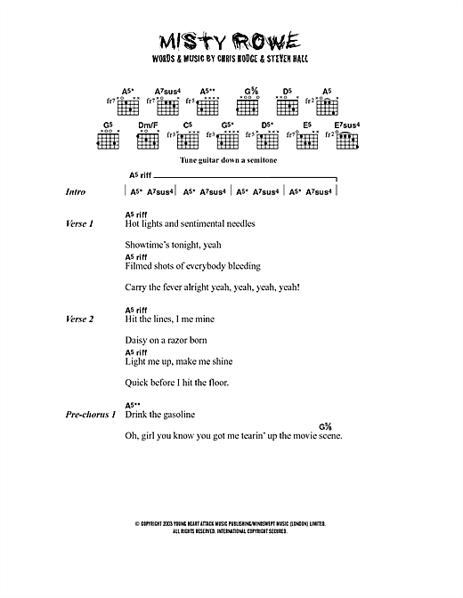 Misty Rowe sheet music by Young Heart Attack (Lyrics & Chords – 40653)