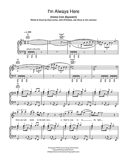 I'm Always Here (theme from Baywatch) Sheet Music