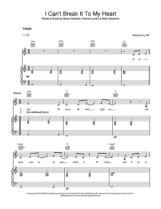 I Can't Break It To My Heart Sheet Music