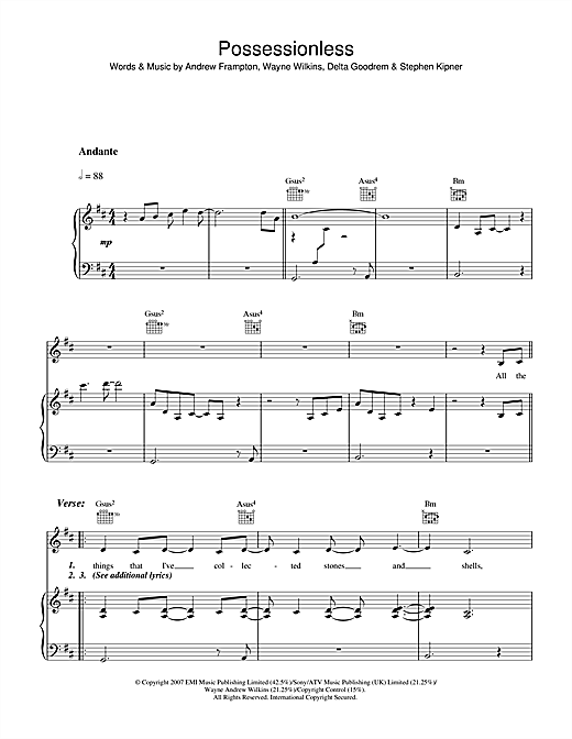 Possessionless Sheet Music