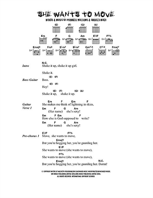 She Wants To Move (Guitar Chords/Lyrics)