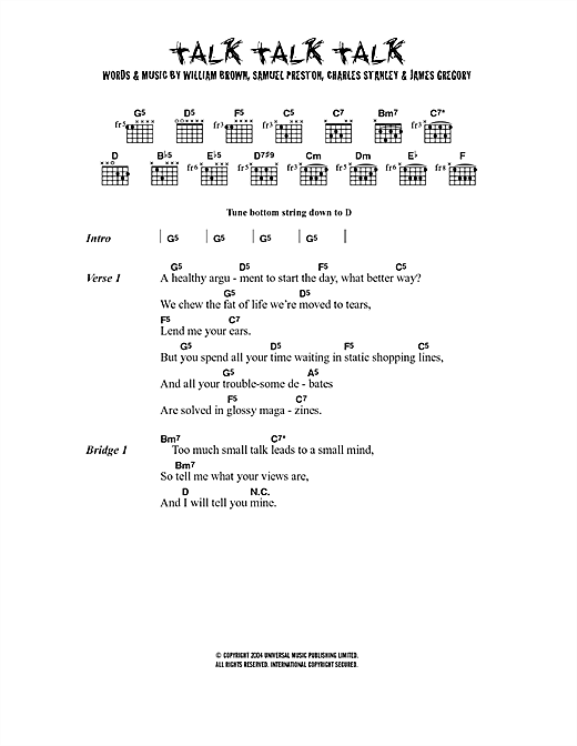 Talk Talk Talk Sheet Music