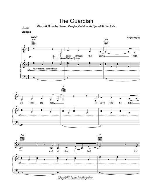 The Guardian Sheet Music