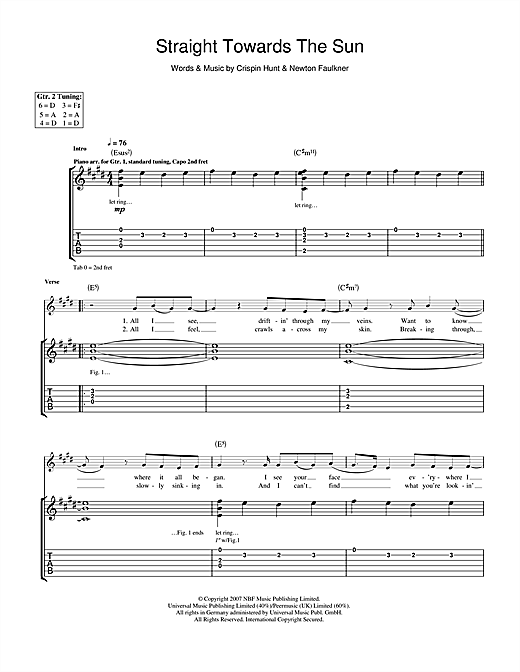 Tablature guitare Straight Towards The Sun de Newton Faulkner - Tablature Guitare