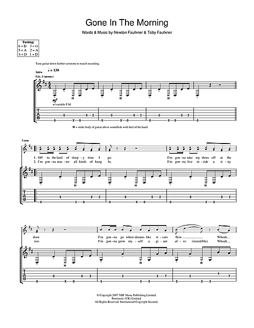 Tablature guitare Gone In The Morning de Newton Faulkner - Tablature Guitare