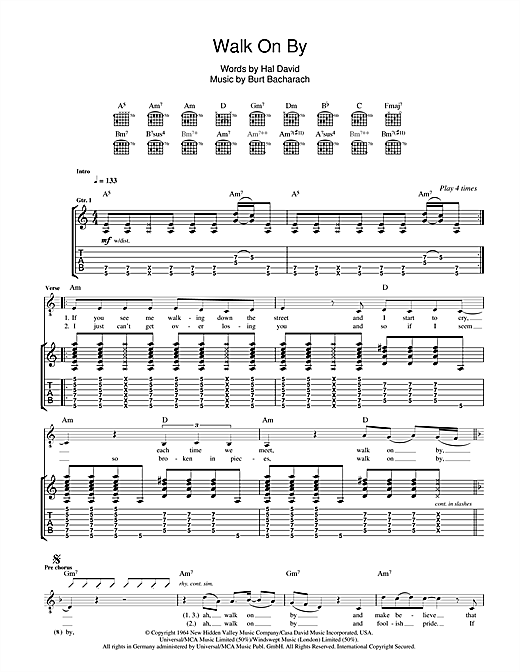Tablature guitare Walk On By de The Stranglers - Tablature Guitare
