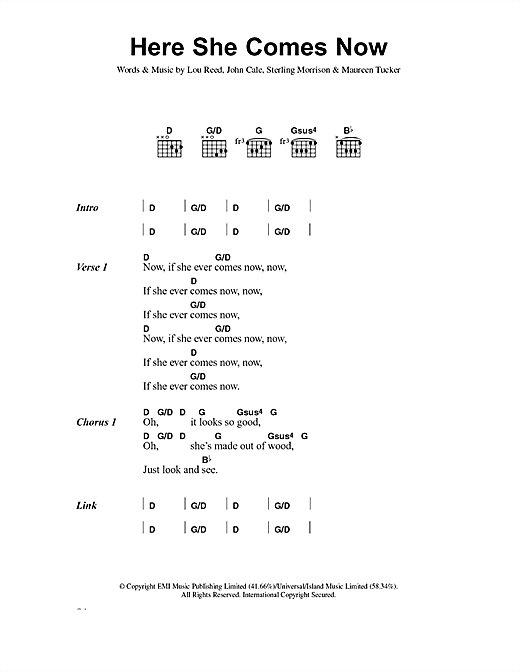 Here She Comes Now (Guitar Chords/Lyrics)