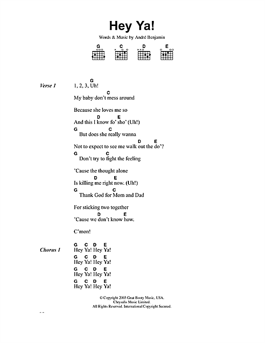 Hey Ya Sheet Music By Outkast Lyrics Chords 40735